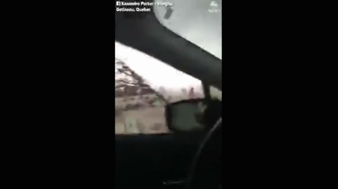 VIDEO: Fuertes vientos rompen los vidrios de un auto en medio de un tornado en Canadá