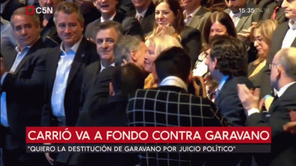 El saludo frío entre Macri y Carrió en un acto público en el Centro Cultural Kirchner