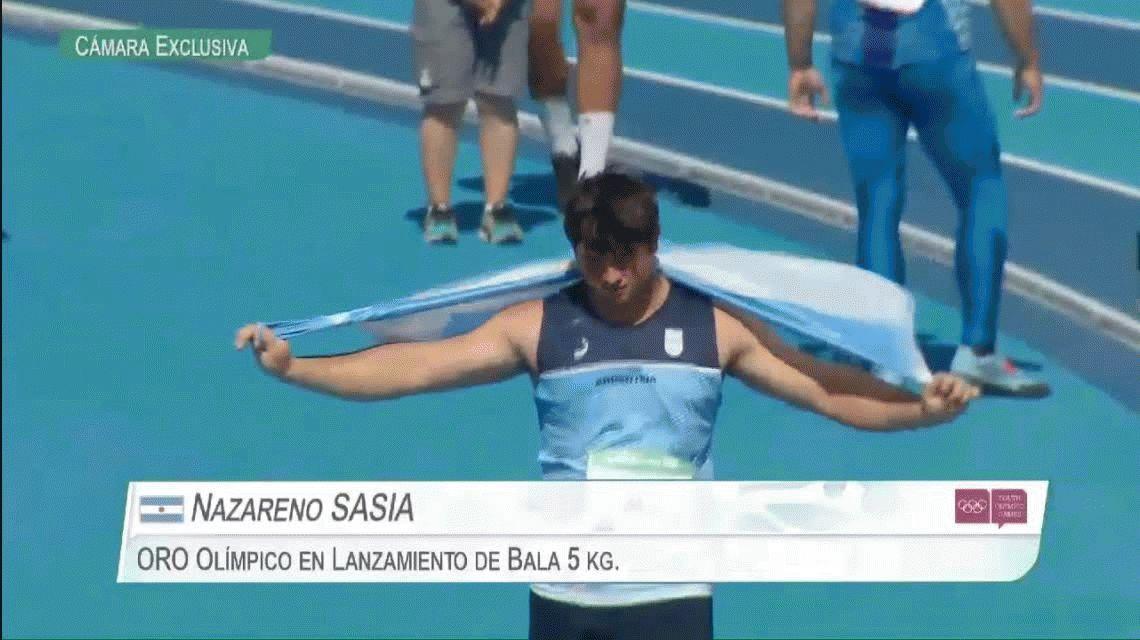 El héroe del día: Nazareno Sasia ganó el oro en lanzamiento de bala