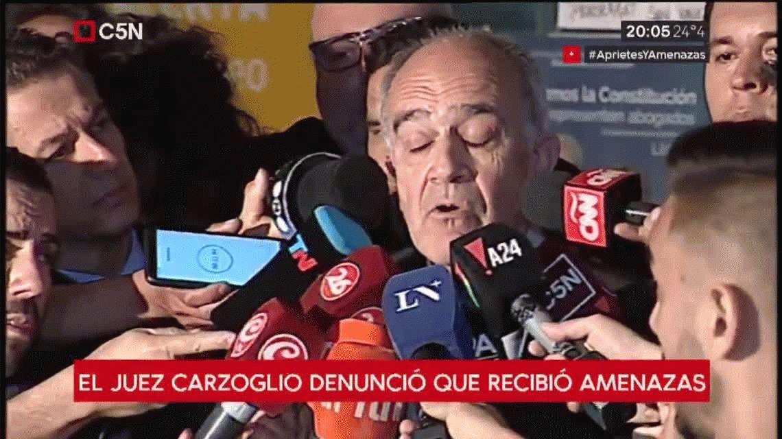 Luis Carzoglio: A mí, como juez, no me van a apretar ni perseguir con estos carpetazos