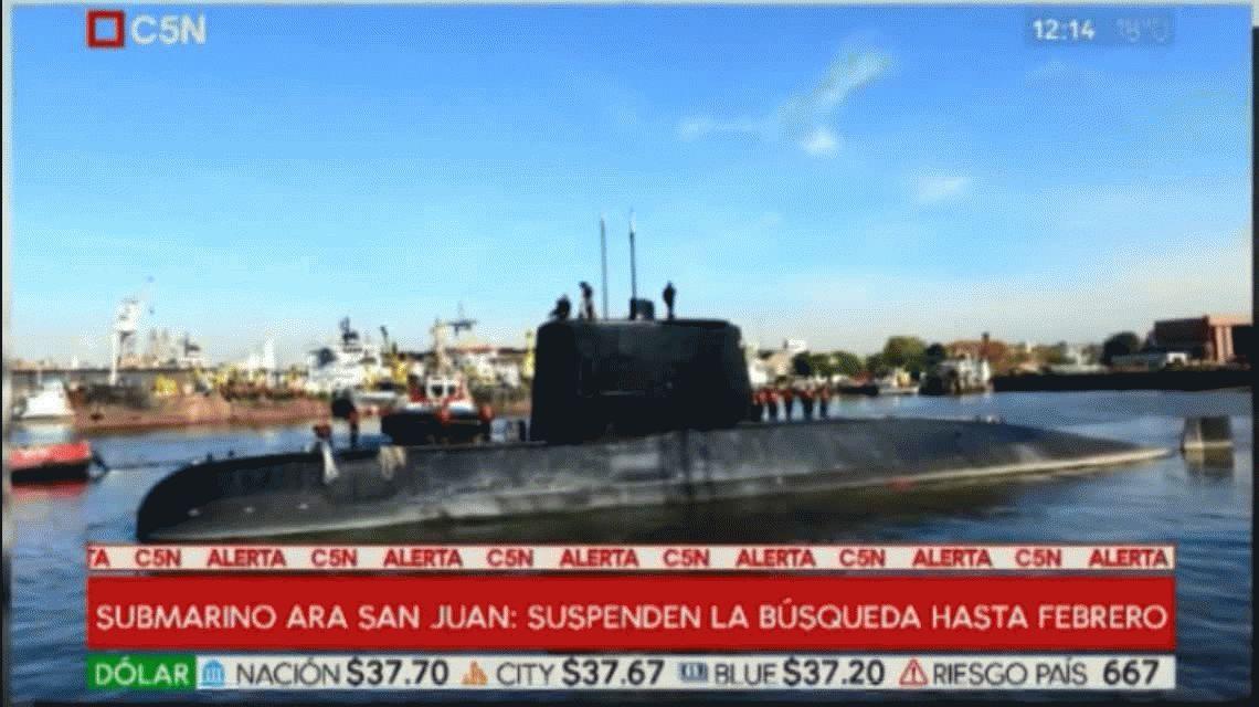 Submarino ARA San Juan: suspenden la búsqueda hasta febrero