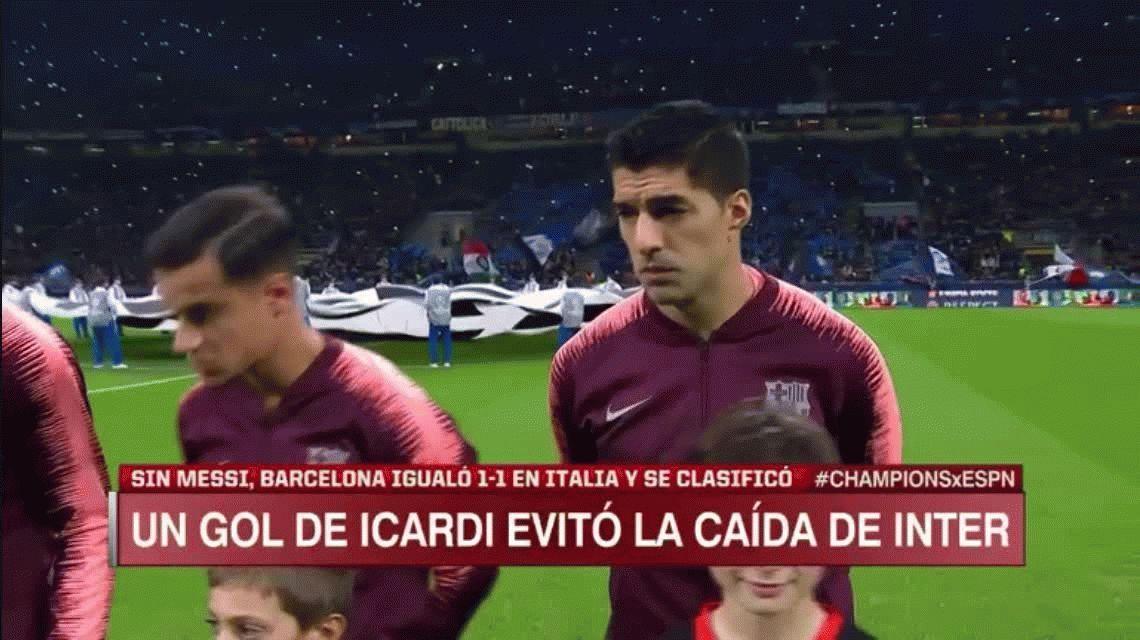 Icardi salvó al Inter: marcó el empate cerca del final ante el Barcelona