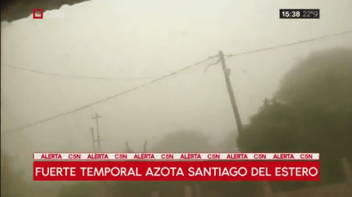 Feroz temporal en Santiago del Estero: se registraron vientos de más de 100km/h