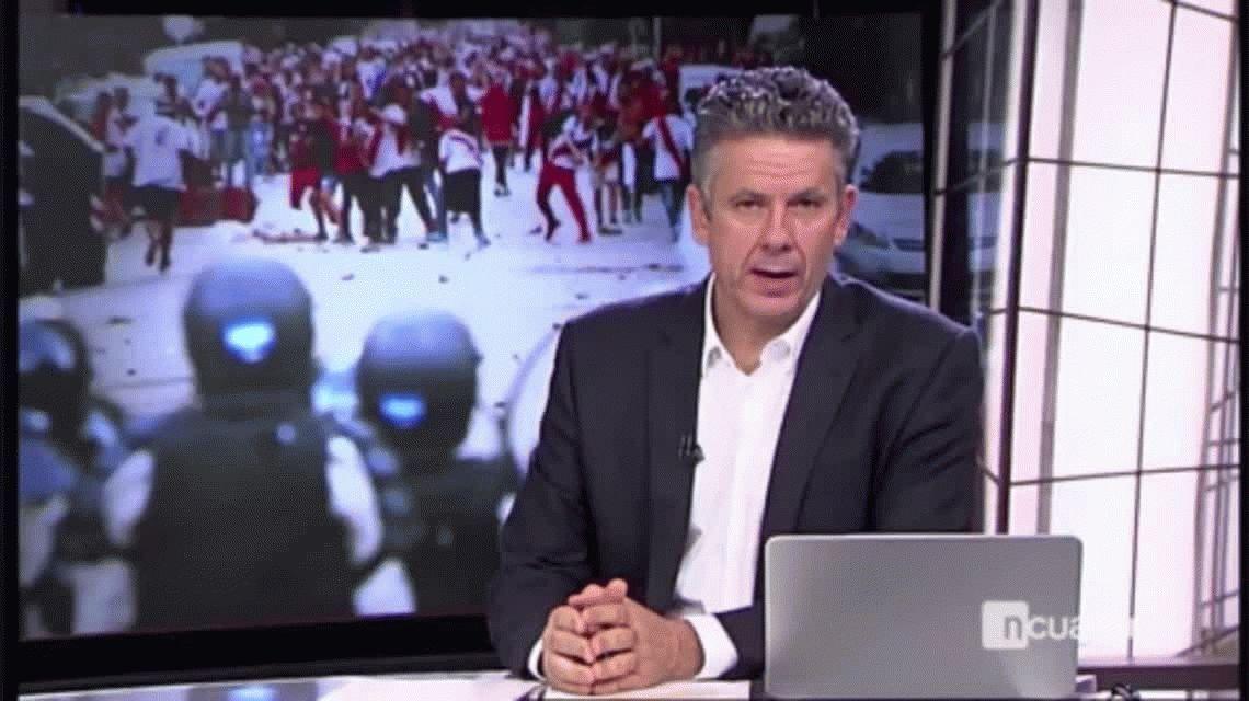 El móvil más bizarro en el Superclásico: un periodista español completamente borracho junto a los hinchas