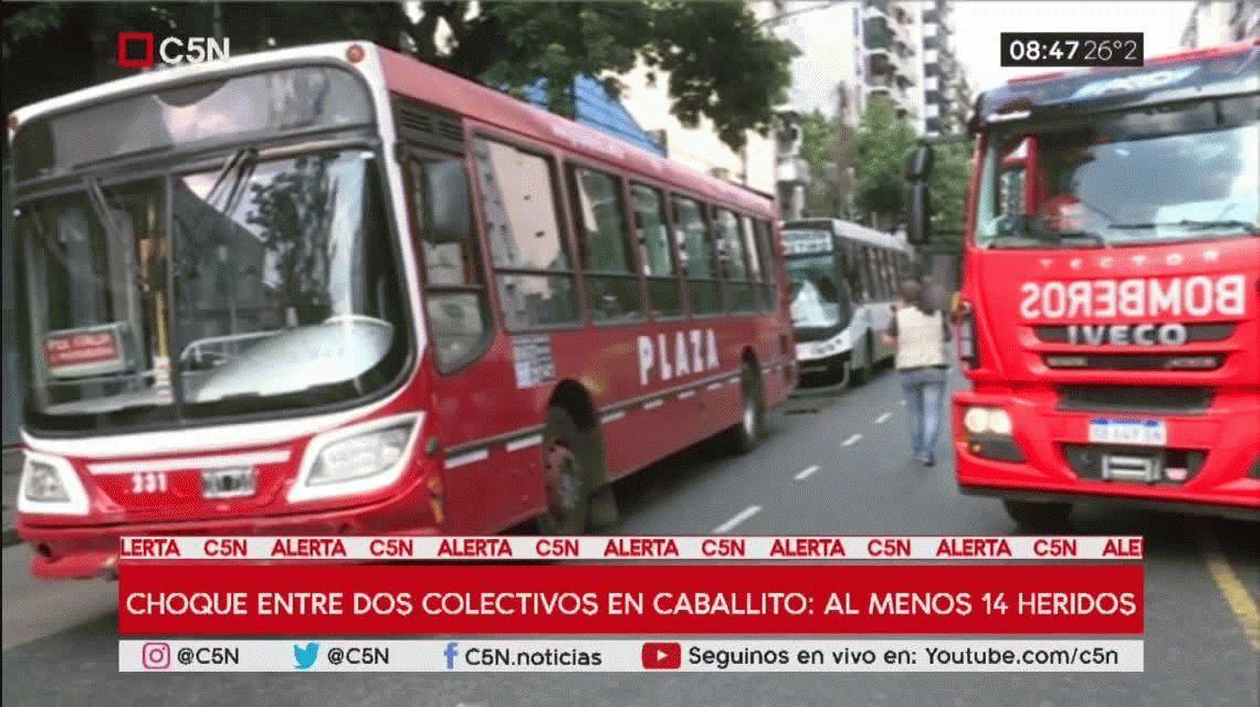 Caballito: un choque entre dos colectivos dejó al menos 14 heridos