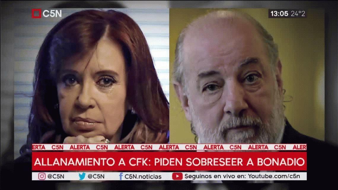 Piden sobreseer al juez Bonadio por el allanamiento a Cristina Kirchner