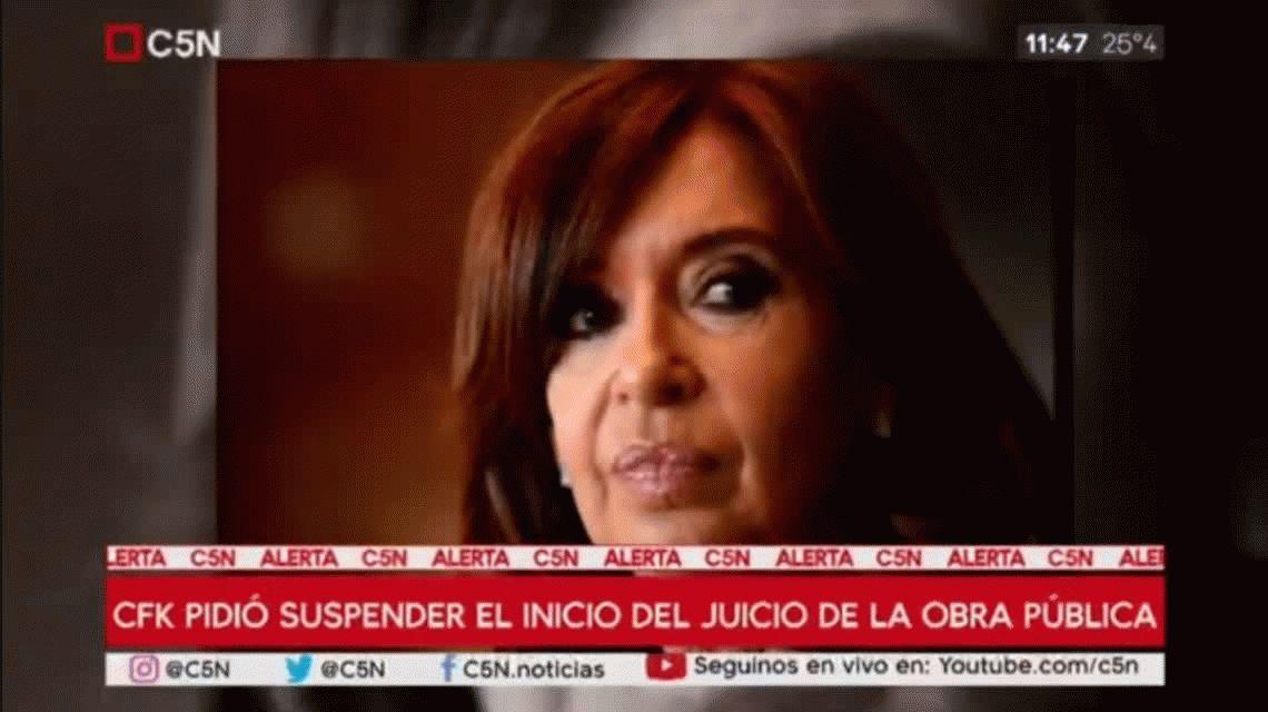 Cristina Kirchner pidió suspender el inicio del juicio por la obra pública