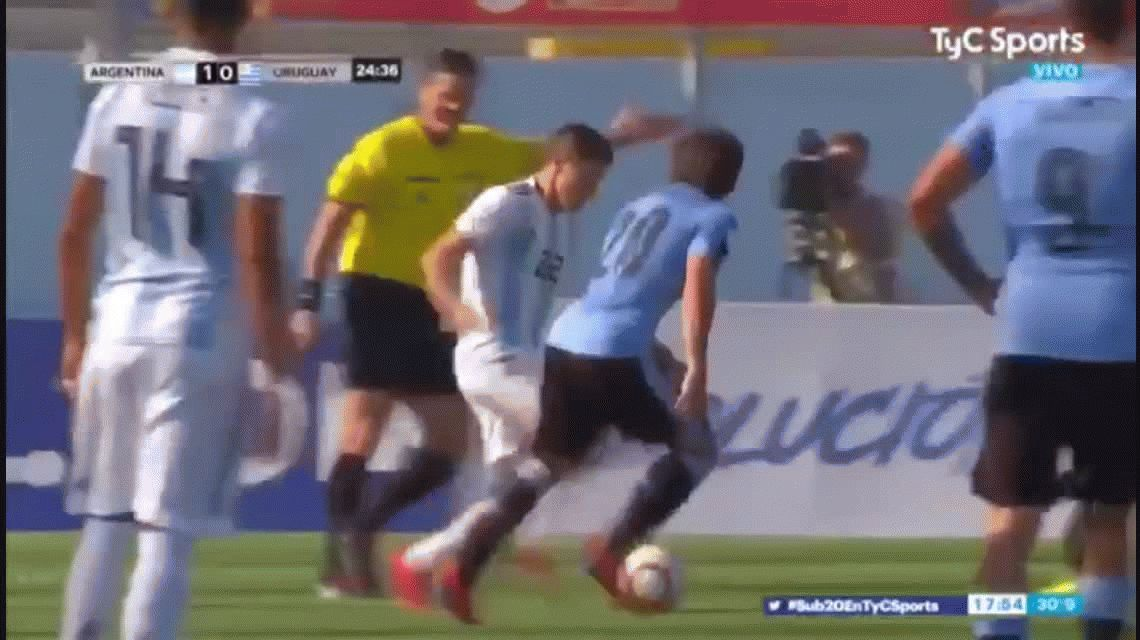 Sudamericano Sub 20: El gol de Moreno para Argentina para abrir el marcador ante Uruguay