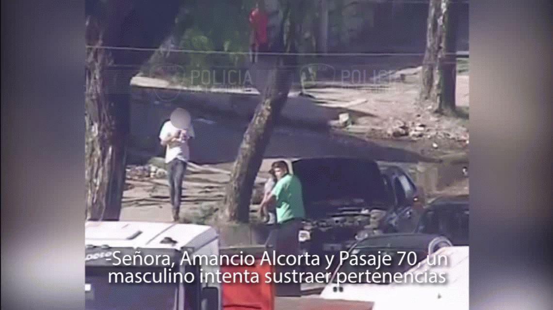 In fraganti: las cámaras de seguridad lo captaron arrebatando un auto y lo detuvieron