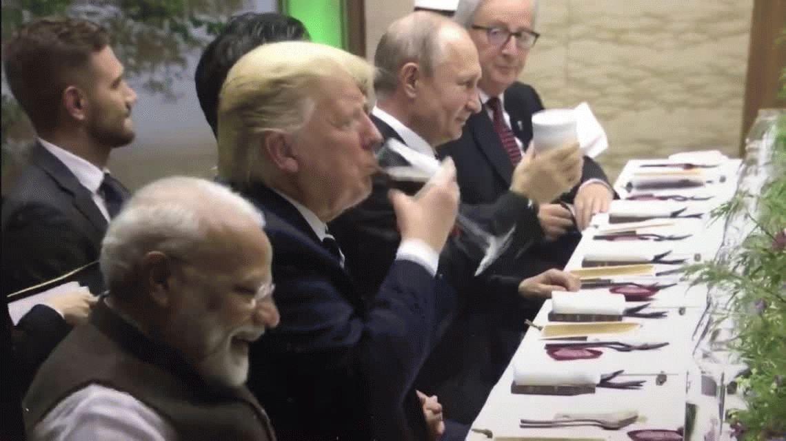Putin brindó con Trump en el G20 ¡y lo hizo con su propio vaso!
