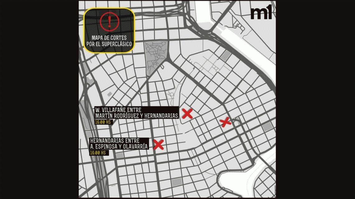 El mapa de cortes en la Ciudad por el Superclásico en La Bombonera