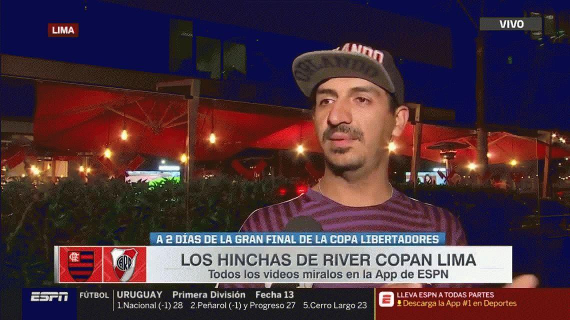 La increíble historia del hincha de River asmático que viajó a dedo hasta Lima para ver la final