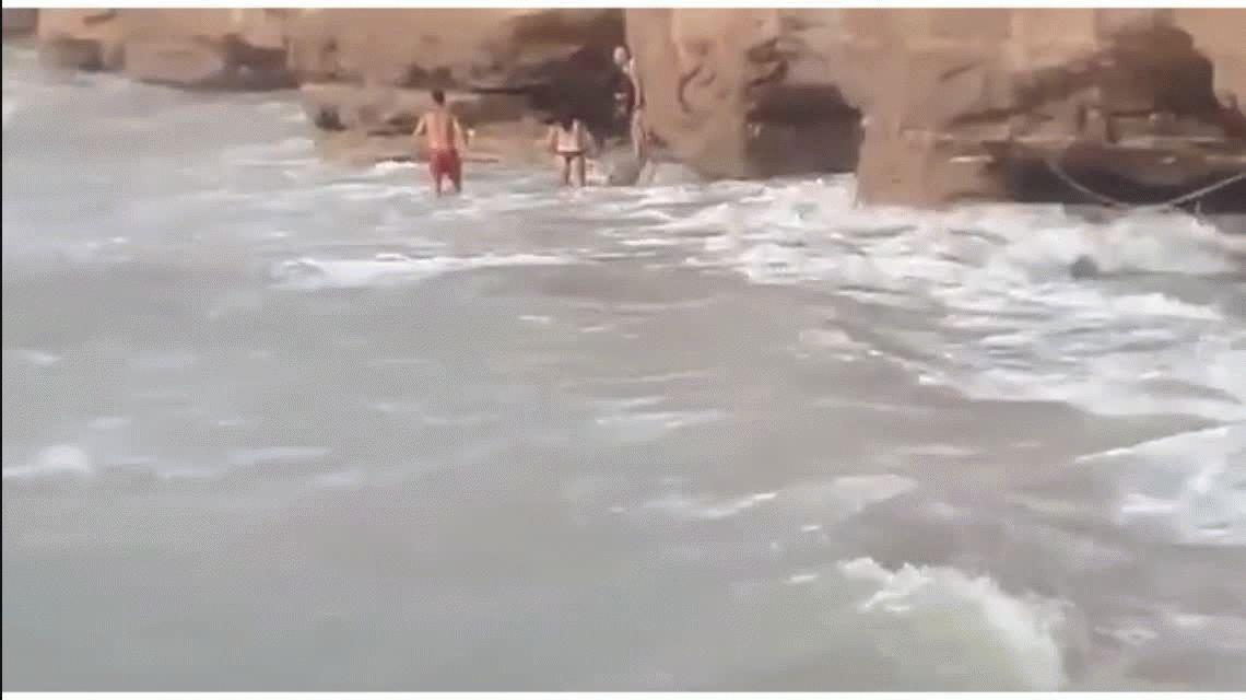 Rescataron a un perro que quedó atrapado entre un acantilado y el mar