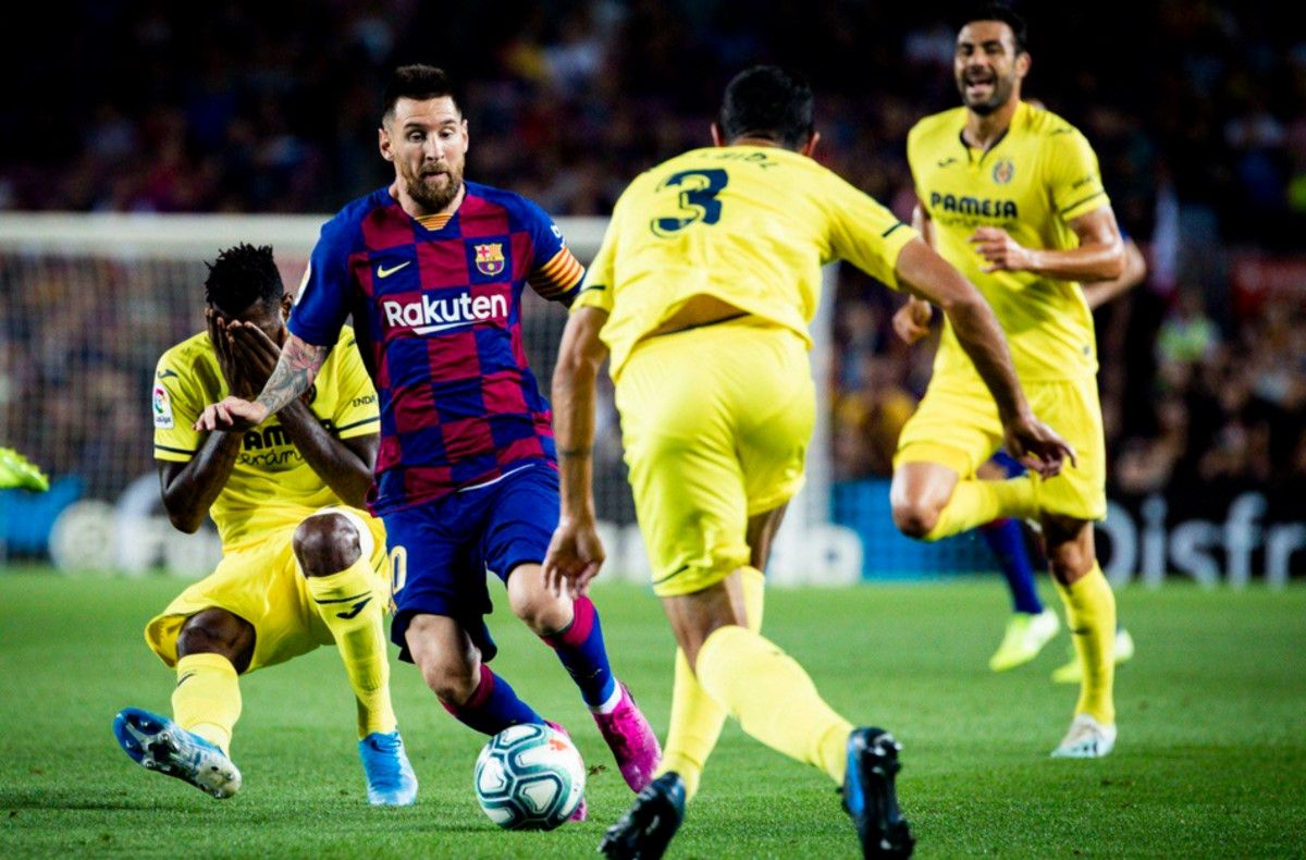 Messi salió lesionado ante Villarreal (gentileza Twitter Barcelona)