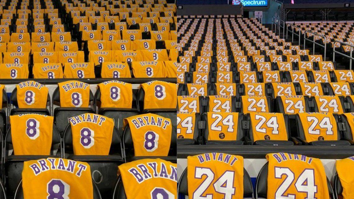 Todos con la 8 y la 24: el estadio de Los Ángeles Lakers se viste de Kobe Bryant en su homenaje