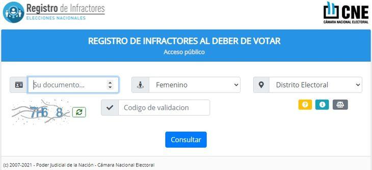 PASO 2021: ya está habilitado el registro online de infractores de la Cámara Nacional Electoral