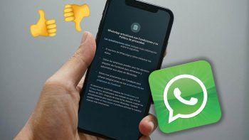 si no aceptas sus nuevas condiciones, whatsapp solo te permitira recibir llamadas