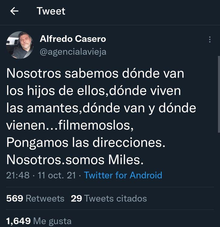 Un Alfredo Casero enojado llamó a escrachar a los hijos de oficialistas y luego borró el tweet