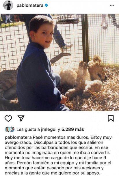 El descargo de Pablo Matera, capitán de Los Pumas, en su cuenta de Instagram.