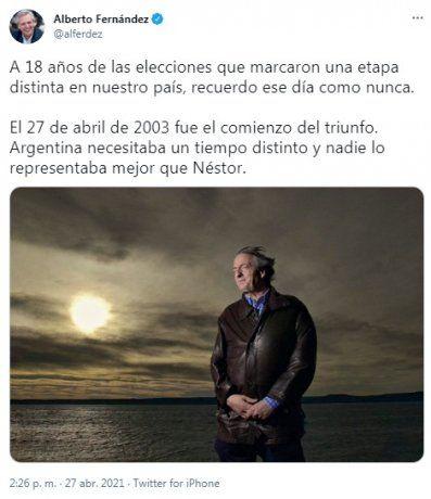 El mensaje de Alberto Fernández en las redes sociales