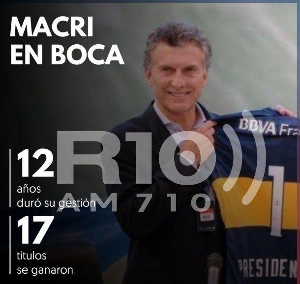 Esta es la foto que empezará a circular con los logros de la gestión de Mauricio Macri como Presidente de Boca