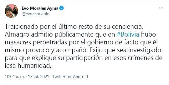 El mensaje de Evo Morales sobre Luis Almagro, titular de la OEA