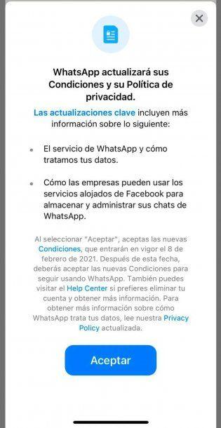 Los nuevos términos y condiciones de WhatsApp regirán desde el 8 de febrero y quien los decline perderá la aplicación