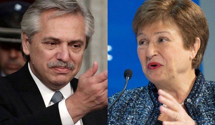 El presidente Alberto Fernández y la directora gerente del Fondo Monetario Internacional (FMI), Kristalina Georgieva