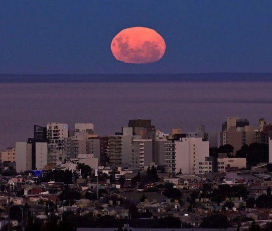 Superluna rosa en Puerto Madryn. Foto: Télam.