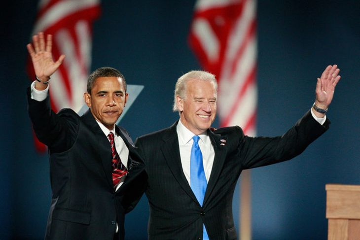 Barack Obama y Joe Biden durante un acto electoral en 2008