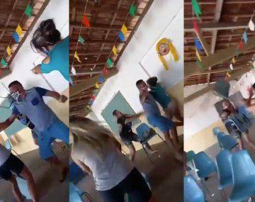 VIDEO: Llevó a su amante al centro de vacunación y se encontró con su esposa en la fila