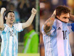Un joven Lionel Messi, celebrando su golazo en Venezuela 2007, y el mismo Messi, en Estados Unidos 2016, tras errar su penal.