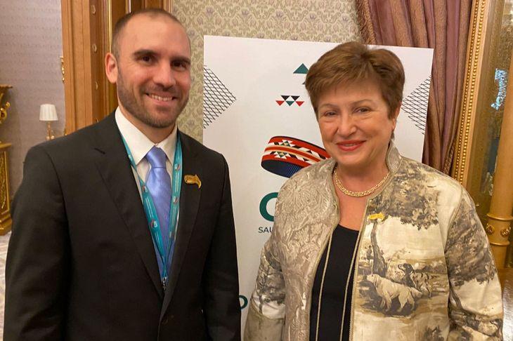 La directora gerente del FMI, Kristalina Georgieva, y el ministro de Economía, Martín Guzmán