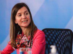 Fernanda Raverta, titular de la Anses y el presidente Alberto Fernández