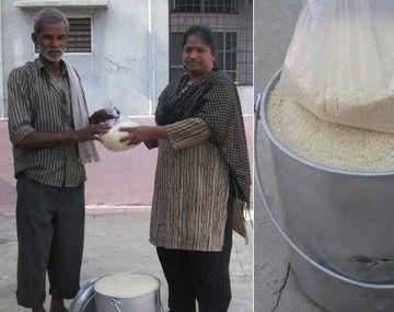 En India redoblan la apuesta y hacen el desafío del balde de arroz contra el hambre
