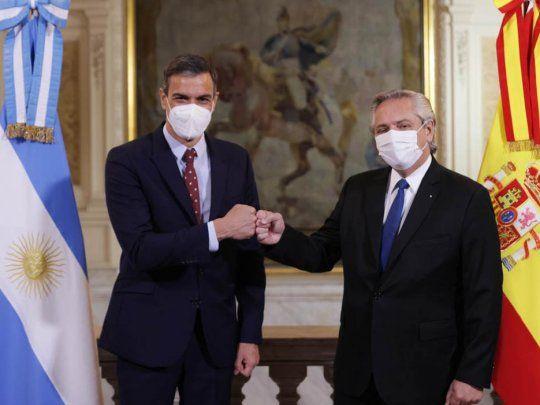 Alberto recibió al presidente español Pedro Sánchez en Casa Rosada