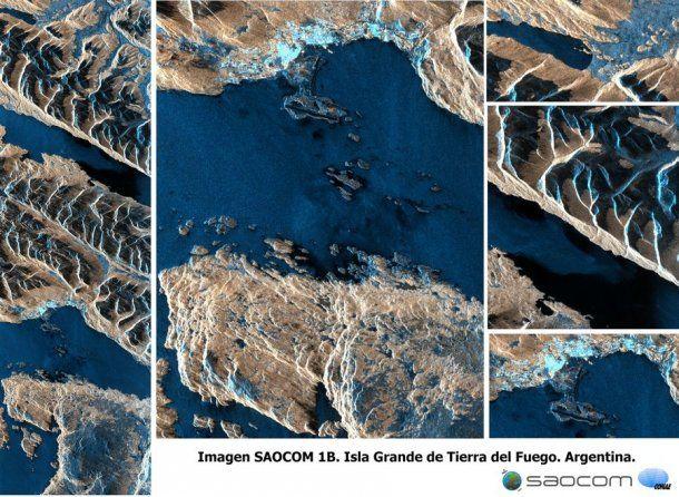 La ciudad de Ushuaia, el aeropuerto, vegetación, roca y mar en la Isla Grande de Tierra del Fuego, vista por el SAOCOM 1B el 14 de septiembre