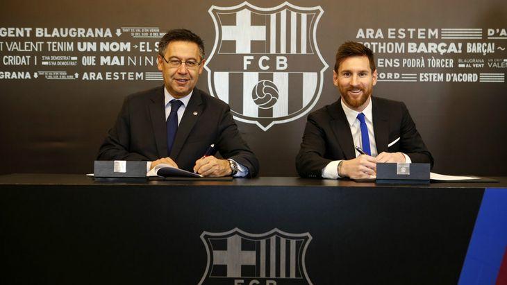 Josep Bartomeu y Lionel Messi